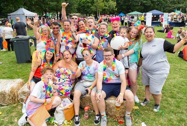 Visitors posing together at Essex Pride