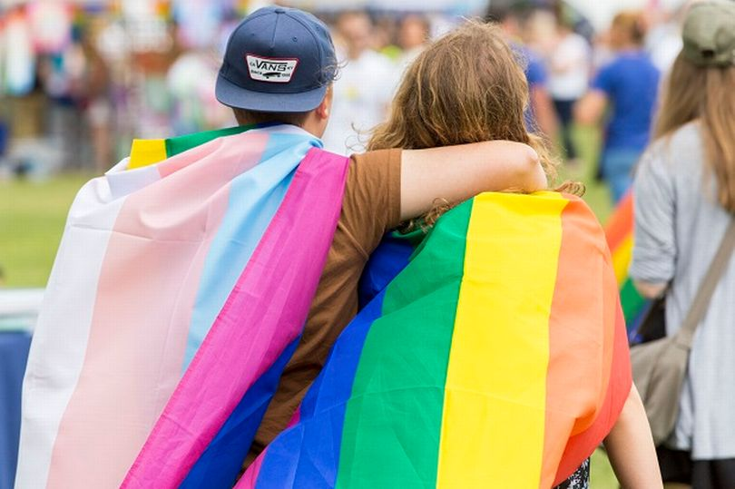 Visitors wearing rainbow flags at Essex Pride 2017